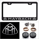 UFRAME Fit Maybach Laser Engraved License Plate Frame Made of Industrial Grade Powder Coated Black Matte Black Stainless Steel w/Caps and Accessories