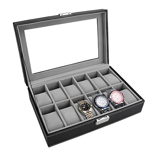 PIXNOR Uhrenbox für 6 oder 12 Uhren Eleganter Speicher auch für Schmuck...