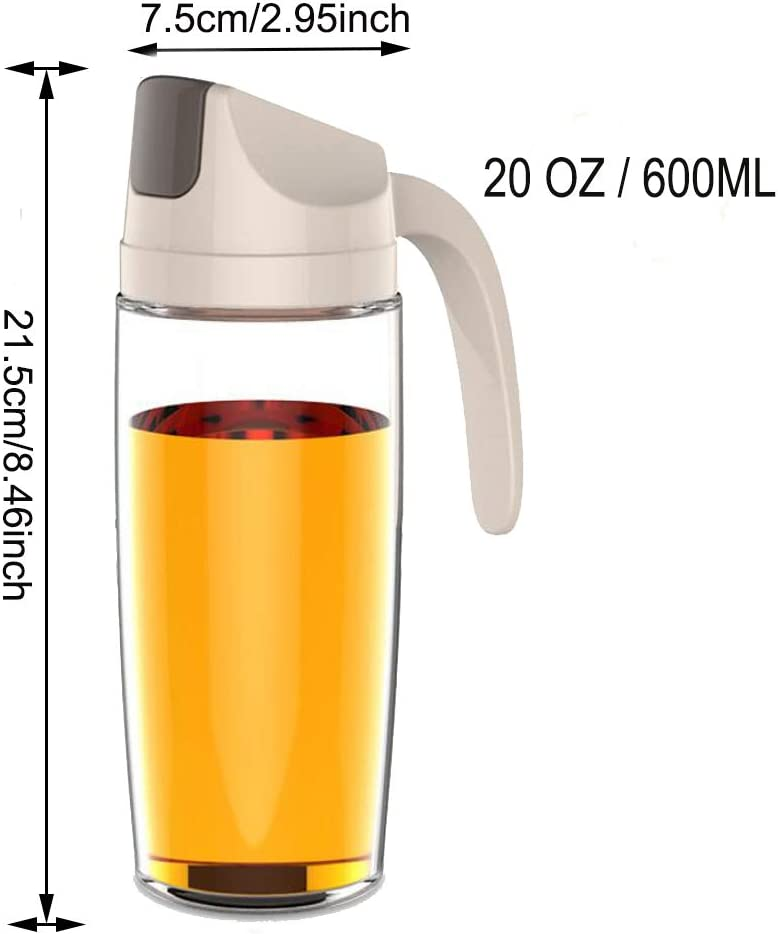 Drip Free Olive Oil Dispenser Vinegar Dispensing Cruets Apricot Cooking Oil Condiment Containers with Measurement and Easy Pouring Spout for Kitchen by Marbrasse Glass Salad Dressing Bottle