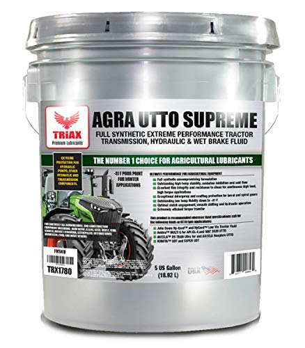 Triax Agra UTTO Supreme Universal Full Synthetic Tractor Hydraulic Transmission and Wet Brake Oil, All Season, Replaces 99% of OEM Tractor Fluids, Arctic Grade -52 F Cold Flow (5 Gallon Pail)