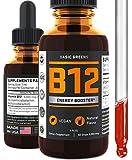 Vitamin B12 Sublingual Drops - Vegan B12 5000 mcg - for Boost Energy - Natural Cherry Flavor - B12 Liquid - B12 Methylcobalamin 2oz by BASIC GREENS