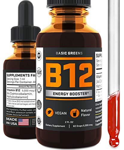 Vitamin B12 Sublingual Drops (2 fl.oz) - Vegan B12 5000 mcg - Energy Booster - B12 Liquid Drops - B12 Methylcobalamin - Natural Cherry Flavor