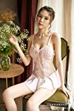Gdofkh Pijamas de una Pieza Camisola de Mujer Fina tentación de Encaje Transparente Ropa Interior Sexy Perspectiva de Malla Falda de Lunares Sexy