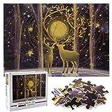ZHENGJIANG Puzzle de 1000 Piezas para Adultos, Puzzle de Alces del Bosque, Arte de Juego de Rompecabezas para Adultos,Adolescentes (70x50cm) …