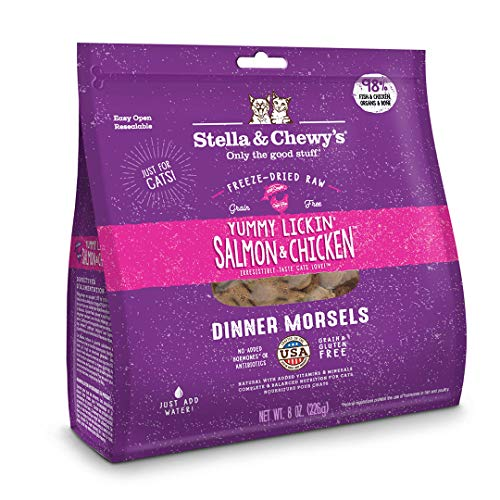 Stella & Chewy's Freeze-Dried Raw Yummy Lickin' Salmon & Chicken Dinner Morsels Cat Food, 8 oz. Bag