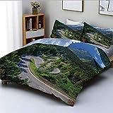 Juego de funda nórdica, vista natural del paso de Maloja, Alpes, Suiza, montañas de Europa, carretera forestal, juego de cama decorativo de 3 piezas con 2 fundas de almohada, verde gris azul, el mejor
