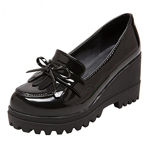 Wedge Oxfords Shoes for Women, Girls Tassels Lolita Cosplay Japanese School Uniform Dress Shoes Heel Platform Loafers Black,6.5