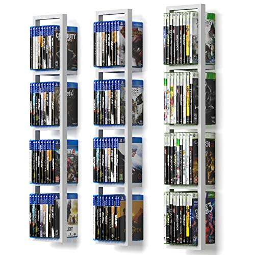 You Have Space White Cube Storage Shelves for Wall, CD DVD Storage Rack Set of 3, 34 Inch Video Game Organizer