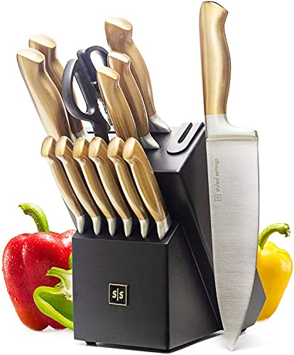 Gold Knife Set with Block - 14 Piece Premium Kitchen Knife Set with Sharpener includes Full Tang Gold Knives and Self Sharpening Knife Block Set, Black & Gold Kitchen Accessories is $70 (30% off)