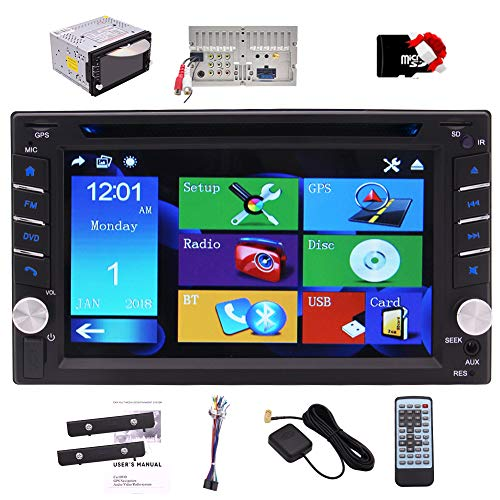 Stereo Doppio Din Car Dash DVD principale dell'unità Bluetooth 6.2 pollici Touchscreen GPS di navigazione per auto Lettore CD 2 DIN Radio Audio Video Digital Media Receiver USB Luci SD Blue Key Map F