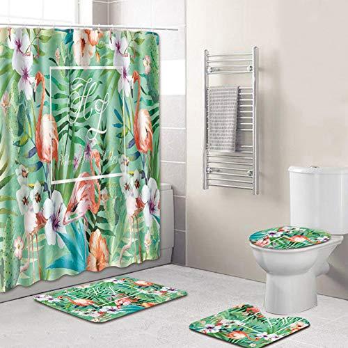 Tomorrow Sun Shine Teppich Duschvorhang Badematte 4-Teiliges Badaccessoires Anti-Rutsch-WC-Vorleger Deckel WC-Abdeckung Badematte + Duschvorhang, Flamingo,4067,180 * 180+50 * 80