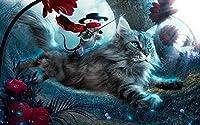 ジグソーパズル3000ピース子供大人ラージジグソーパズルゲームおもちゃギフトクリエイティブ減圧DIYチャレンジアート画像-動物猫ファンタジー