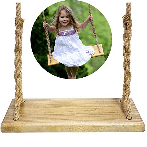 NUB Wood Tree Swing Garden Games Wooden Swing Seat Wooden Hanging Swing Seat with Durable Ropes for Both Adults And Kids