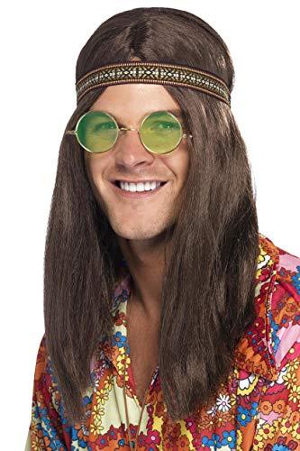 Adults-28358 Kit hippy de hombre, con banda para el pelo, gafas y collar, color marrón, Tamaño único (Smiffy's 28358) , color/modelo surtido