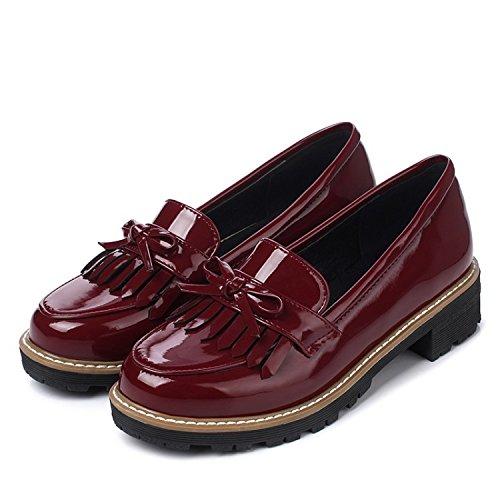 LcHuiBo Mujer Clásico Borla Zapatos Oxford Planos Charol Resbalón en Tacón bajo Pajarita Mocasines de Penny para la Escuela Señoras Ligeras Moda Oxford Zapatos (39,Red)
