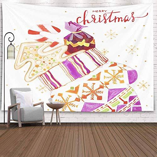 Tapiz para colgar en la pared, tapiz para dormitorio, decoración de la habitación, al aire libre, Navidad, matrimonio, acuarela, pan de jengibre, tapiz de invierno, manta de playa, tapiz de festival p