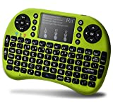 Rii i8+ Mini Bluetooth Keyboard with Touchpad&QWERTY Keyboard, Backlit Portable Wireless Keyboard for Smartphones laptop/PC/Tablets/Windows/Mac/TV/Xbox/PS3/Raspberry Pi.Green