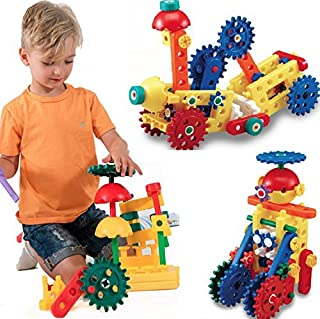 LoyToys Educational Engineering Building Blocks & Gears Set, 80 Piece for age 4-7 Boys & Girls. Best Gift, STEM Toy- Promo...