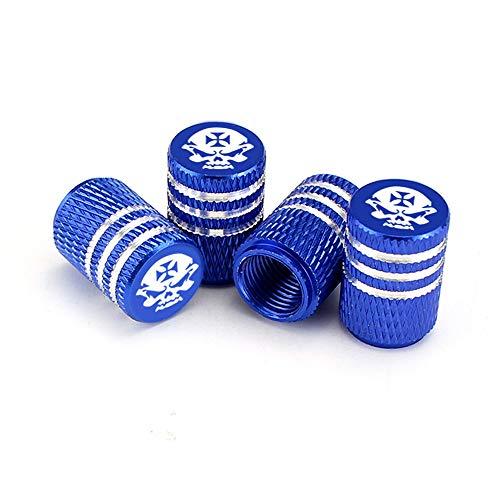 YinAn 4 Unids/Set Coche Válvula De Neumáticos Tallos Tapa Mundro Estilo Skull Neumático Válvula Tapa Aluminio Neumático Rueda Tallo Válvula De Aire Tapas Tapas A Prueba De Polvo (Color : C01705 Blue)