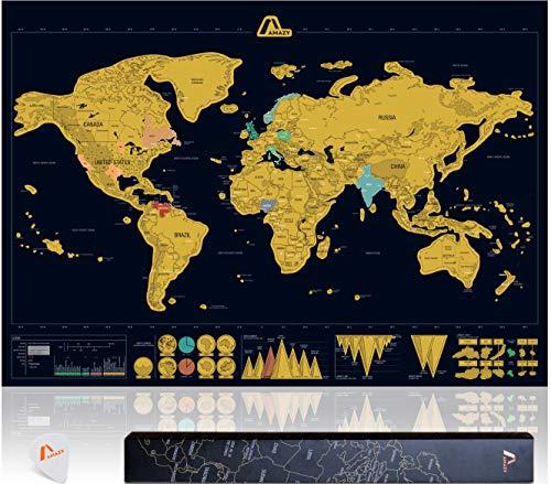 Amazy Mapa Mundi Rascar XXL (Negro | 82 x 59 cm) – Mapa mundi pared grande –aprende países y cultura – Mapa del mundo ideal para el hogar.