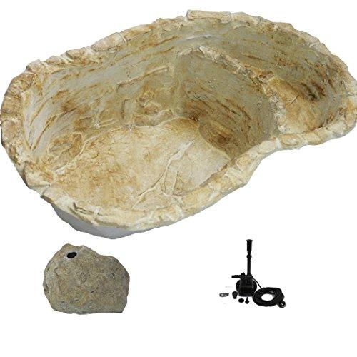 wasserkaskaden Fontane a Cascata Stagno da Giardino Fulda Fontana a zampillo Roccia, Beige/Marrone, 112 x 70 x 31 cm/100 l /3 Pezzi