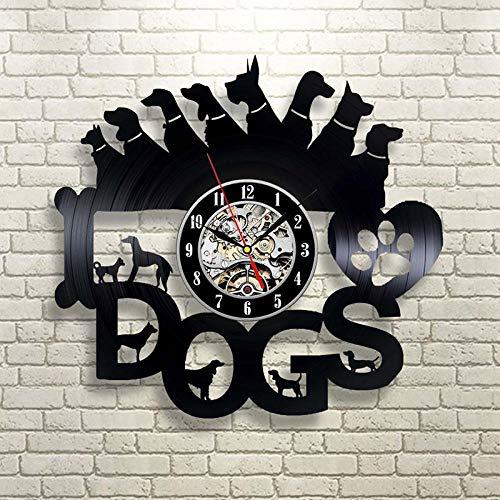 Verschillende honden vorm holle vinyl record klok cadeau voor hondenliefhebbers LED wandklok Creatieve zwarte antieke stijl hangende klok