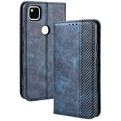 TANYO Leder Folio Hülle für Google Pixel 4A 4G (Not for 5G Version), Premium Flip Wallet Tasche mit Kartensteckplätzen, PU/TPU Lederhülle Handyhülle Schutzhülle - Blau