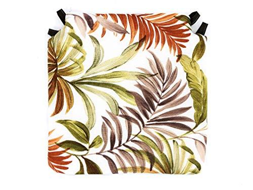 Tienda Eurasia - Pack de 4 Cojines para Sillas, Estampado Tropical Orange, con 2 Cintas de Sujeción. Apto para Interior - Exterior. Medidas 40x40cm