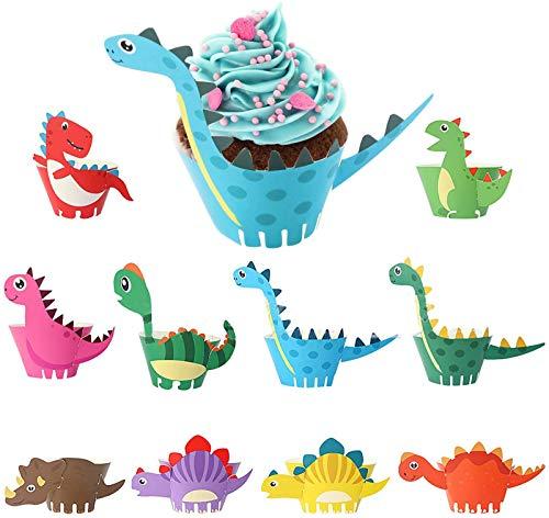 HENTEK 50 Stücke Cupcake Wrappers Dino Cupcake Toppers Wrappers Papier Dinosaurier Kuchenaufsätze Kuchendeckel für Kinder Geburtstag Hochzeit Party Kuchen Muffin Dekoration