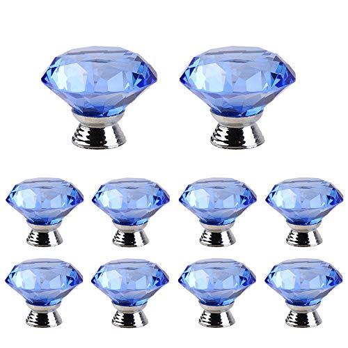 10 Pezzi Pomelli per Porta Moderni, ZUYOKO Manopole per Mobili da Cucina Pomelli in Vetro Cristallo a Forma di Diamante Pomelli per Armadio (40mm, profondo blu)