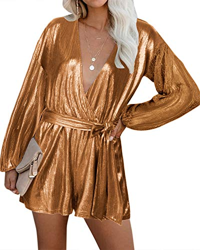YOINS Vestido Fiesta Mujer Largo Mono Camisa Brillante Vestido Lentejuelas Mujer Casual Cuello En V Jumpsuit Elegante