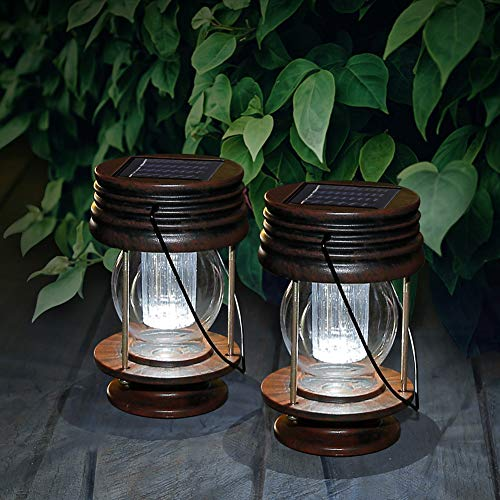 pearlstar Hanging Solar Lights Outdoor Garden Lights LED Retro Solar Lanterns with Handle for Pathway Yard Patio Decoration, Table Lamp Lights,2 pack(White Light)