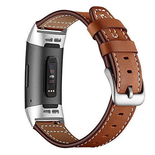 AISPORTS Compatible con Fitbit Charge 3 Bandas de Cuero, Pequeño y Grande Reloj Inteligente Deportivo Pulsera con Hebilla de Metal Pulsera para Fitbit Charge 3, Accesorios de Seguimiento de Actividad