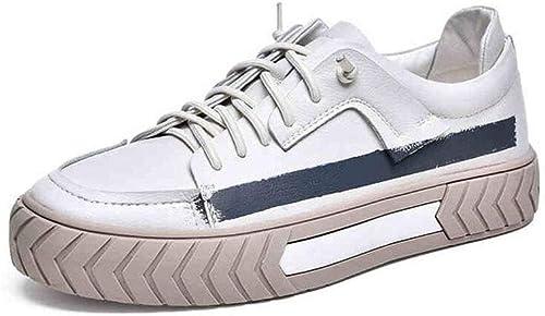ECSD Chaussures De Sport pour Hommes, Chaussures De Sport en Microfibre, Fond épais (3-5cm), Blanc (Taille   EU42 UK8.5 CN43)