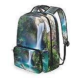 MAHU Backpack Waterfall Tropical Jungle Landscape Detachable College Bag Travel Zipper Bookbag Hiking Shoulder Crossbody Bag Daypack for Women Men