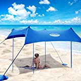UMARDOO Family Beach Tent with 4 Aluminum Poles, Pop Up Beach Sunshade with Carrying Bag (Blue, 10X9 FT)