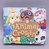 YUNMEI Cruce de Animales Juego de Dibujos Animados Que rodea Switch Animal Crossing Friends Club Cartera Corta Plegable Animal Crossing Coin Purse Wallet