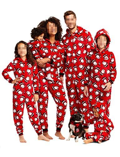 Pijamas a Juego con la Familia Navidad de una Pieza Papá Noel PJS Jumpsuit Niños y Adultos Sudadera con Capucha Cremallera Ropa de Dormir (Red, Dad-S)