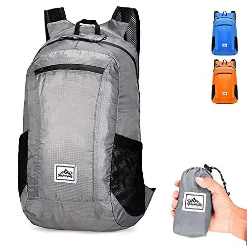 Sac à dos de randonnée, sac à dos pliable ultra-léger 20L imperméable pour le rangement des sports, pour le cyclisme de plein air, le camping et les pique-niques (gris)
