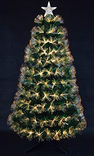 Jaymark Products - Albero di Natale in fibra ottica per interni, Christmas Direct - Albero di Natale in fibra ottica per interni, 120 cm, con LED bianco caldo e supporto, 4FT