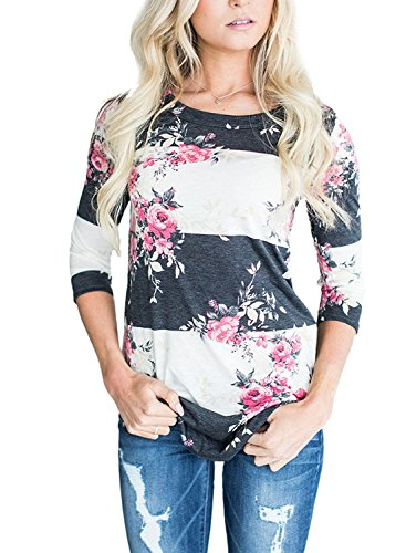 CEASIKERY Women's Blouse 3/4 Sleeve Floral Print T-Shirt Comfy Casual Tops For Women,Pink,(US 8-10) Medium