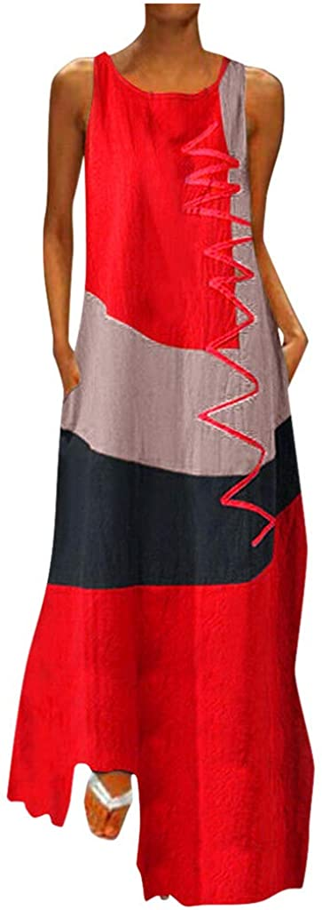 Casual Dresses for Womens Plus Size Long Maxi Dress Summer Floral Boho V Neck Sleeveless Loose Sun Dress with Pockets