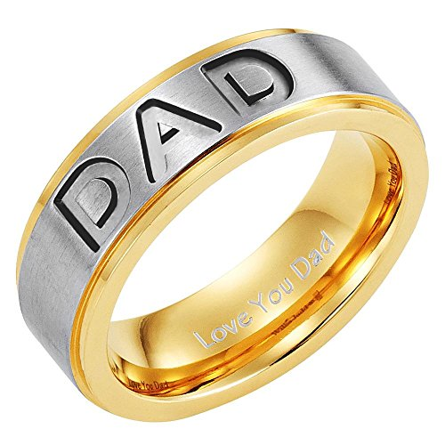 Willis Judd Men's DAD Titanium 7mm Ring Engraved Love You Dad with Gift Pouch