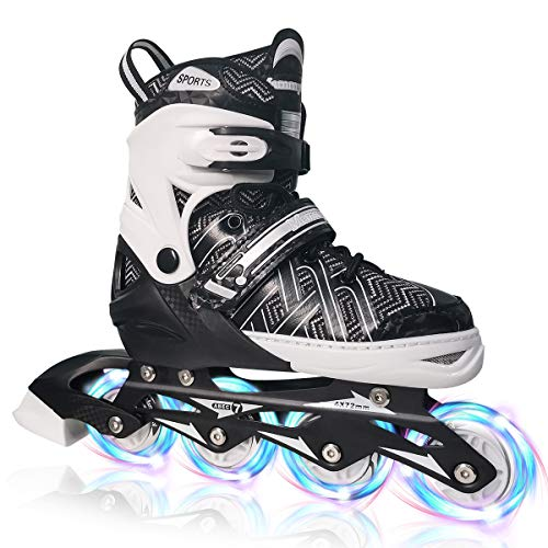 PetGirl Inline Skates for Kids, Adjustable Inlines Skates with Light up Wheels for Girls Boys, Fun Illuminating Blades Ice Skating Equipment for Indoor&Outdoor (Black, Large - Youth (5-8US))