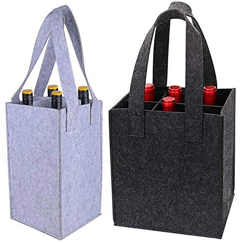 2 Pezzi Borsa Portabottiglie Vino In Feltro 6 Bottiglie Di Portabottiglie Per Vino Borsa Per Bottiglia Di Vino Portatile Borsa Di Birra Sacchetto Di Vino Per Picnic Campeggio E Viaggi,4/6 Bottiglie