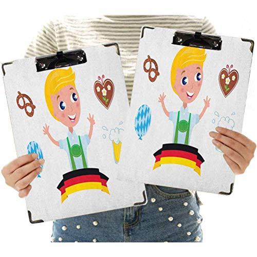 Portapapeles de oficina de madera dura, niño bávaro con pelo rubio con símbolos Oktoberfest, globo de cerveza y portapapeles decorativos para escuela, oficina, enfermera, arte, negocios