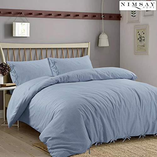 Nimsay Home Jake - Set copripiumino e federe per letto matrimoniale, 100% cotone, colore: Blu