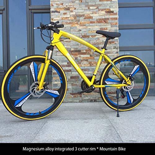 AISHFP Bicicleta de montaña para Adultos de 26 Pulgadas, Bicicletas de Carreras de Carretera de la Ciudad, Bicicleta de montaña para Hombres con Doble Disco de Freno,Oro,27 Speed
