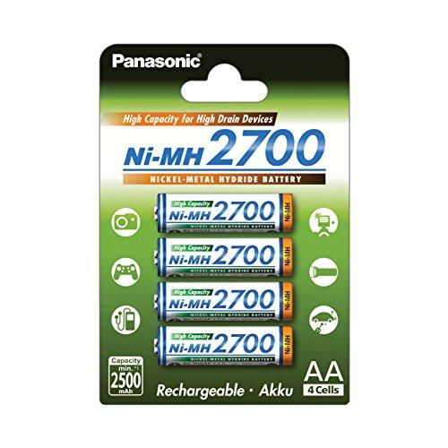 Panasonic High Capacity, Akku Ni-MH 2700, AA Mignon, 4er Pack, min. 2700 mAh + Varta Rechargeable Accu Ready2Use vorgeladener AAA Micro Ni-Mh Akku 4er Pack 1000 mAh
