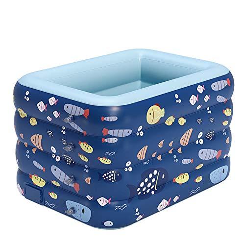 AJAMQ Piscina Infantil Automática, Piscina Inflable Engrosada Patio Trasero Familiar Centro De Juegos Acuáticos De Verano para 1-3 Adultos Niños Piscina Hinchable Infantil,Azul,140x110x75cm